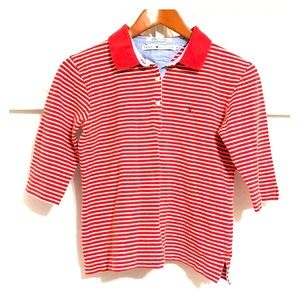 TOMMY HILFIGER Striped 3/4 Sleeve Button Up Top